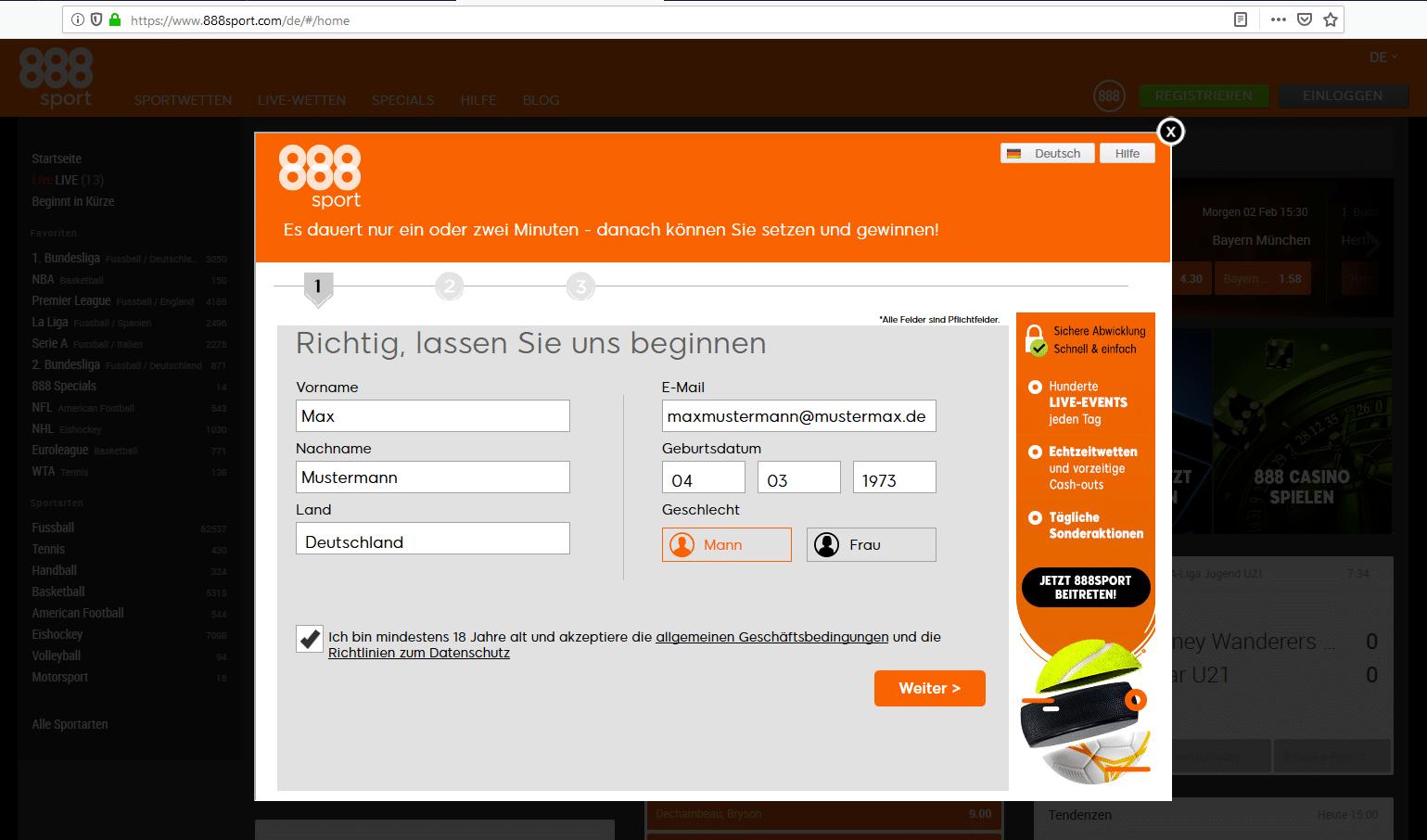 Registrierungsformular bei 888sport