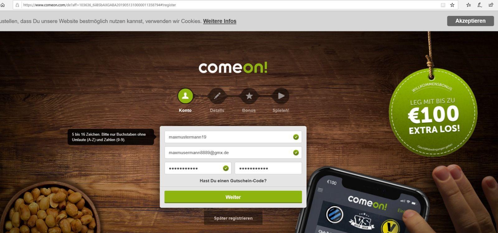 comeon jetzt registrieren