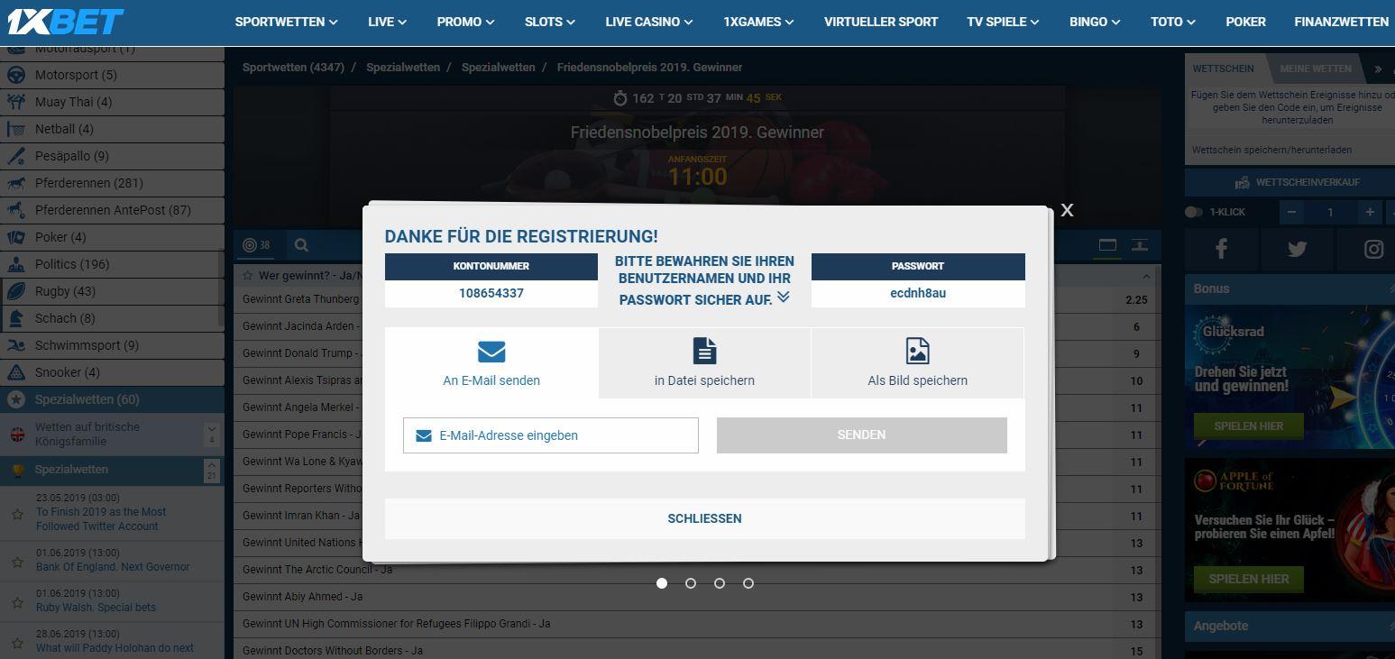 registrierung für friedensnobelpreis wette