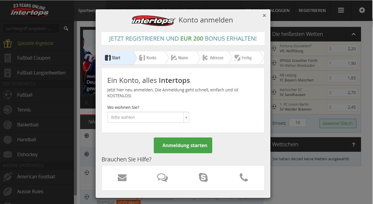 intertops registrierung